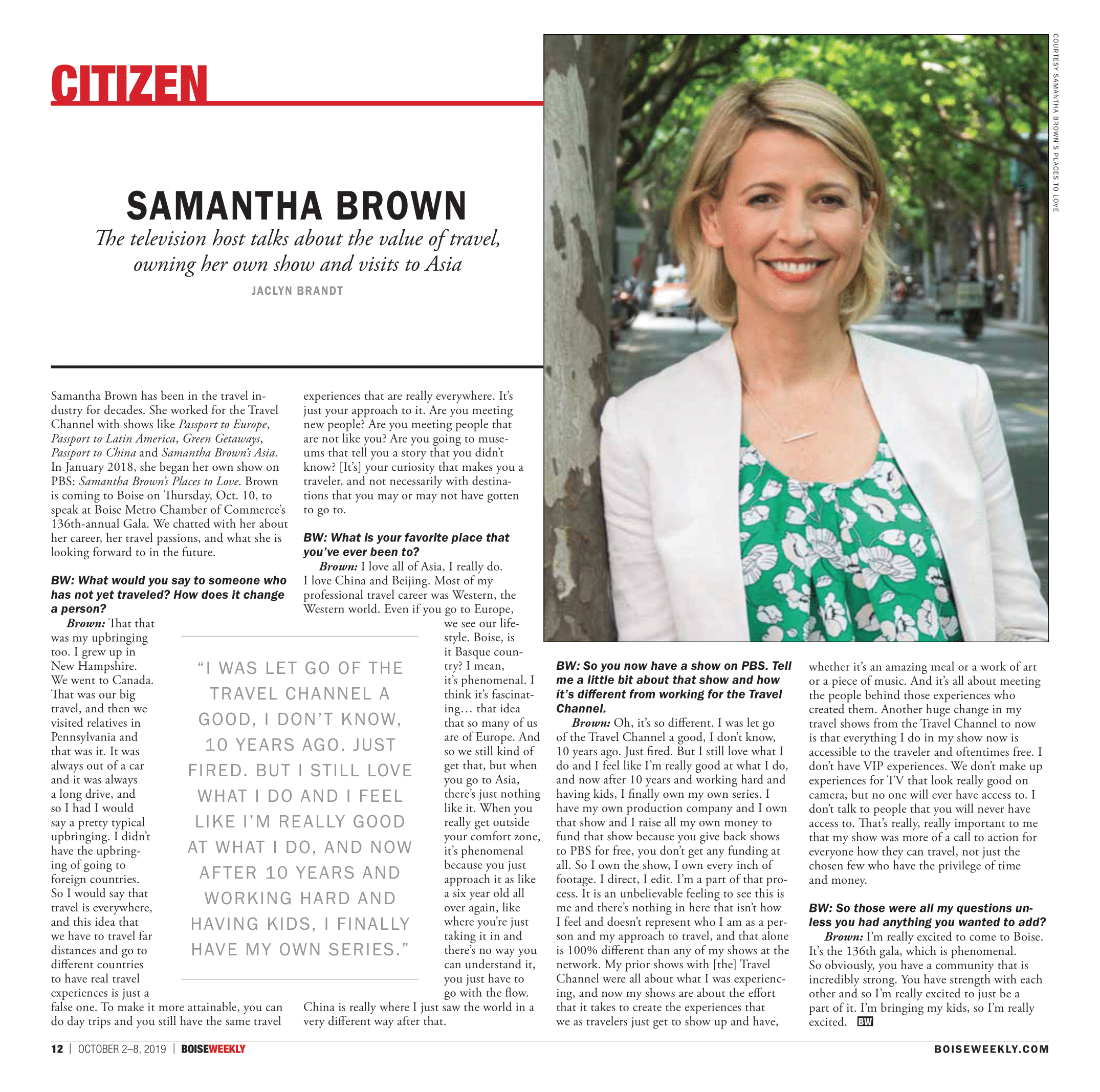 Samantha Brown interview - Jaclyn Brandt.